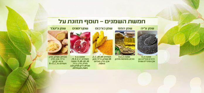 חמשת השמנים והצריכה היומית המומלצת - שמן חמשת השמנים